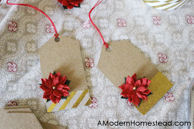 These gorgeous 3D Christmas gift tags are super easy to make and cost less than $0.25 a piece! With just a few supplies you can have these tags made in about 2 minutes!